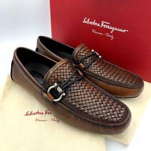 SALVATORE FERRAGAMO Brown Bit FRONT Moccasin Shoes